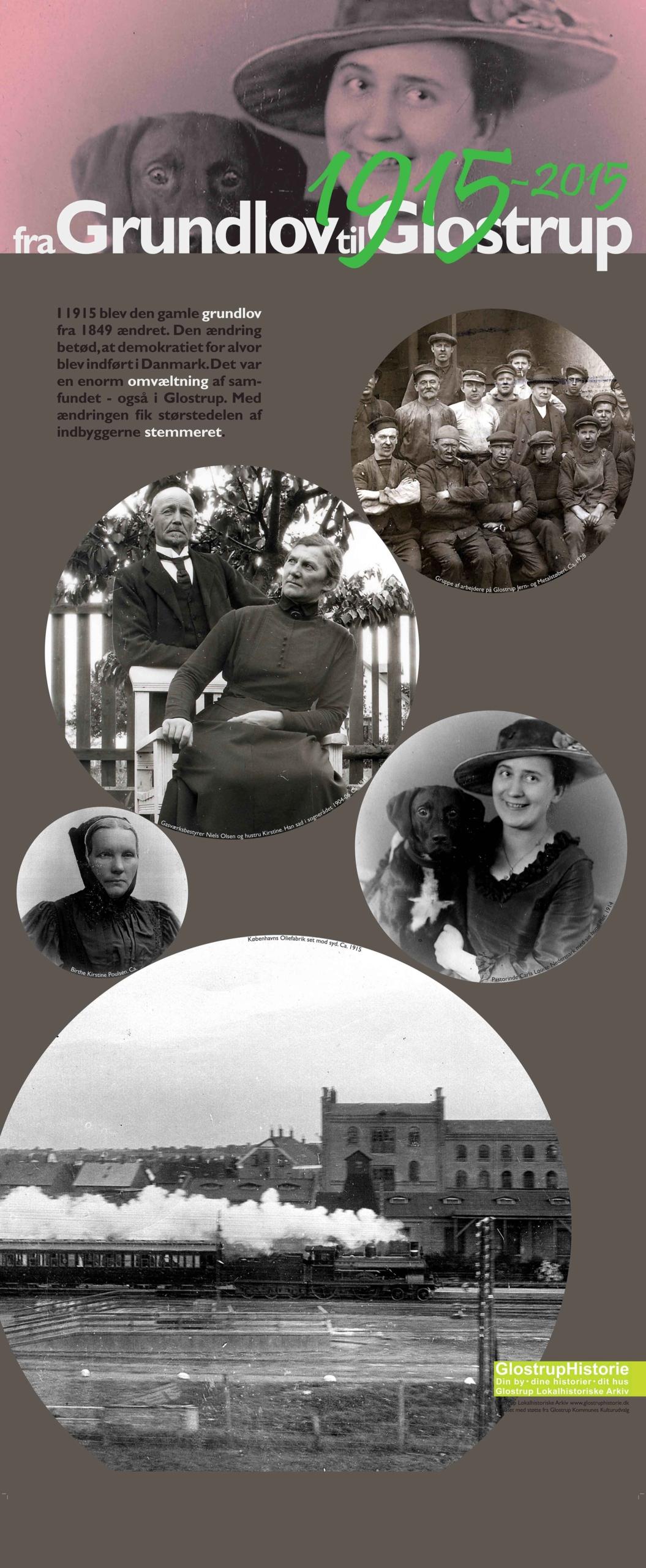 Grundlovs-udstilling 2015. Intro-planche om 100 året for Grundlovsændringen, som bl.a. gav kvinder stemmeret. Fotos af markante kvinder fra det gamle Glostrup.