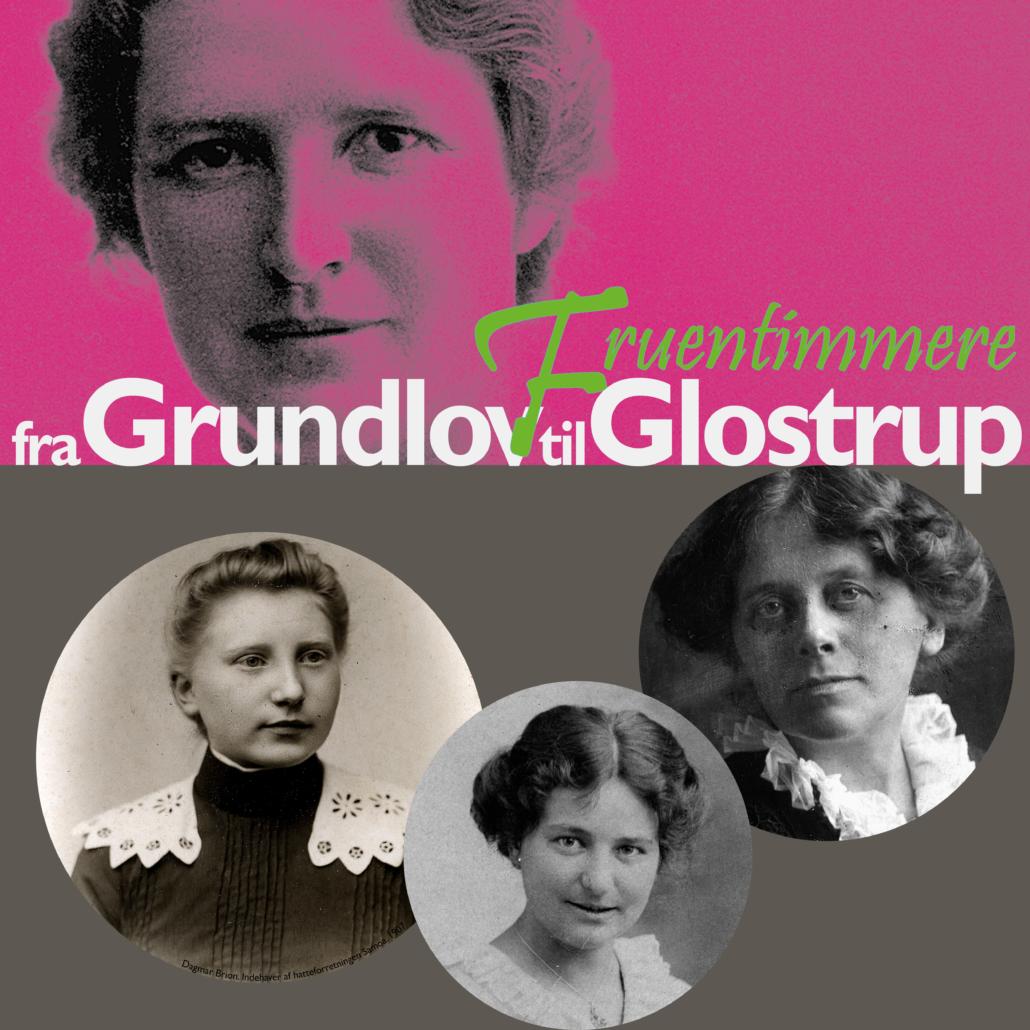 Grundlovs-udstilling 2015. Udstillingstitel og fotos af kvinder.